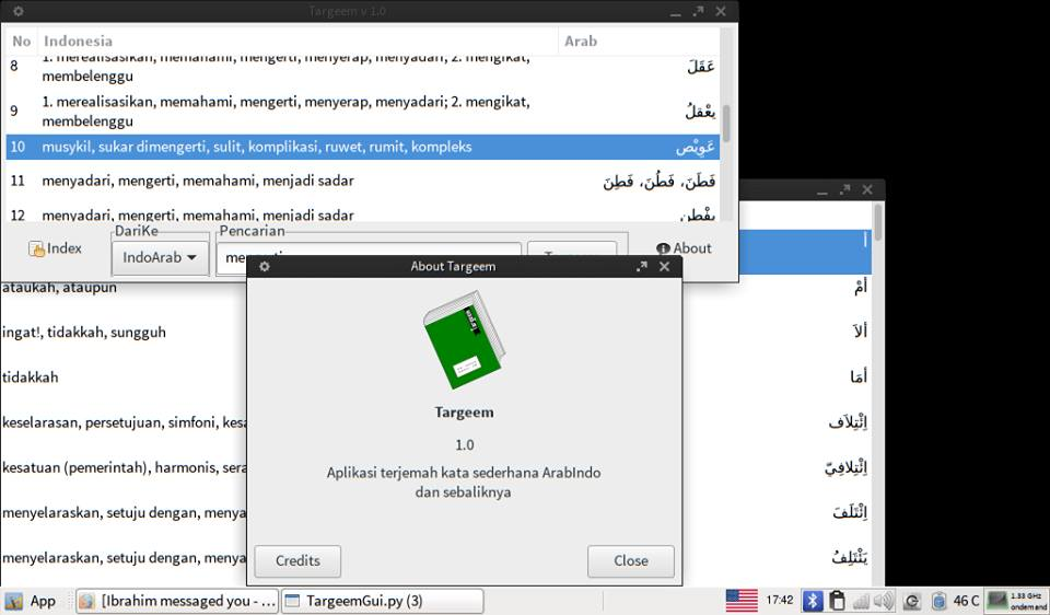 Tarjeem - arab indo translator desktop